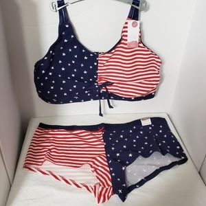 CACIQUE *nwt* American Flag Bralette 26/29 Panty